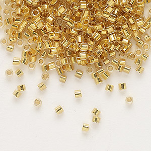 seed bead, delica, glass, 24kt gold-lined translucent crystal, (dbc-0033), #11 cut. sold per 250-gram pkg.