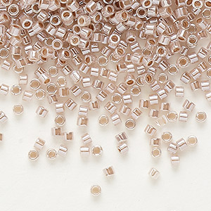 seed bead, delica, glass, ceylon color-lined blush, (db256), #11 round. sold per 7.5-gram pkg.