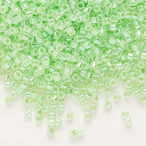 seed bead, delica, glass, ceylon color-lined limeade, (db237), #11 round. sold per 50-gram pkg.