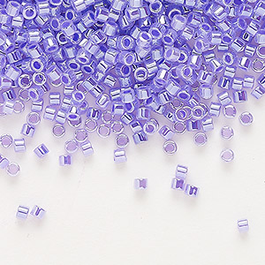 seed bead, delica, glass, ceylon color-lined violet, (db249), #11 round. sold per 7.5-gram pkg.