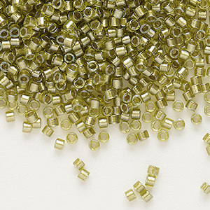 seed bead, delica, glass, color-lined chartreuse, (db908), #11 round. sold per 7.5-gram pkg.