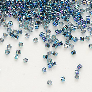 seed bead, delica, glass, color-lined dark blue, (db85), #11 round. sold per 250-gram pkg.