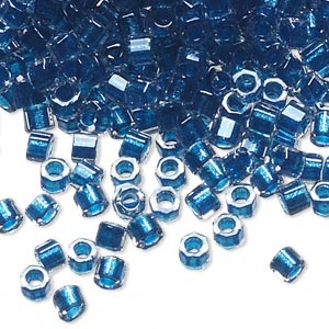 seed bead, delica, glass, color-lined electric blue, (db920cut), #11 cut. sold per 50-gram pkg.