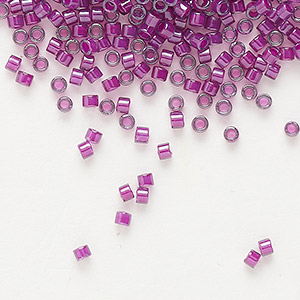 seed bead, delica, glass, color-lined fuchsia, (db281), #11 round. sold per 7.5-gram pkg.