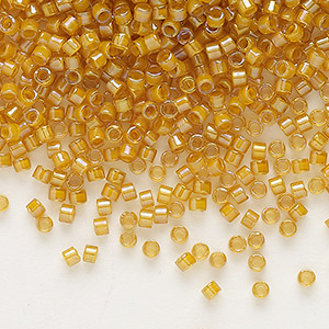 seed bead, delica, glass, color-lined gold, (db272), #11 round. sold per 7.5-gram pkg.