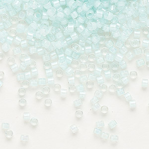 seed bead, delica, glass, color-lined light aqua, (db78), #11 round. sold per 250-gram pkg.