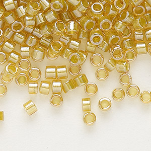 seed bead, delica, glass, color-lined light mustard, (db911), #11 round. sold per 250-gram pkg.