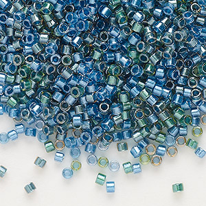 seed bead, delica, glass, color-lined mix green and blue, (db985), #11 round. sold per 50-gram pkg.
