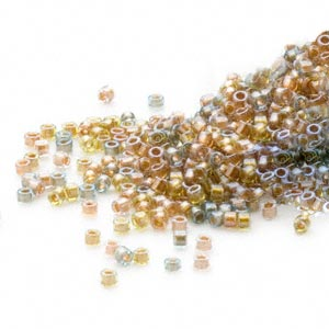 seed bead, delica, glass, color-lined mix metallic, (db981), #11 round. sold per 50-gram pkg.