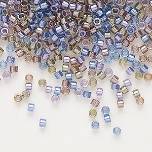 seed bead, delica, glass, color-lined mix purple and bronze, (db986), #11 round. sold per 7.5-gram pkg.