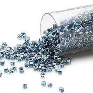 seed bead, delica, glass, color-lined rainbow dark blue, (db85cut), #11 cut. sold per 7.5-gram pkg.