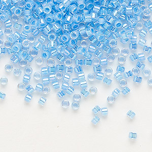 seed bead, delica, glass, color-lined rainbow medium blue, (db76), #11 round. sold per 250-gram pkg.