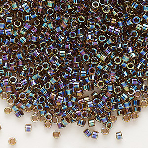 seed bead, delica, glass, color-lined rainbow root beer, (db87), #11 round. sold per 7.5-gram pkg.