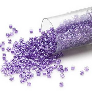 seed bead, delica, glass, color-lined shimmer lavender, (db906cut), #11 cut. sold per 7.5-gram pkg.