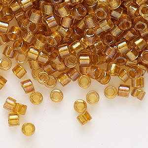 seed bead, delica, glass, color-lined topaz yellow, (db65), #11 round. sold per 7.5-gram pkg.