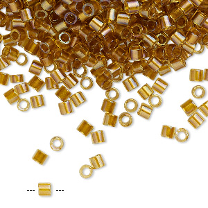 seed bead, delica, glass, color-lined topaz yellow, (dbl0065), #8 round. sold per 50-gram pkg.