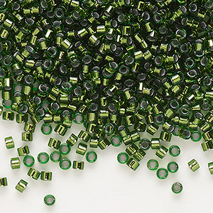 seed bead, delica, glass, copper-lined olive, (db182), #11 round. sold per 7.5-gram pkg.