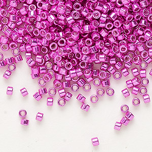 seed bead, delica, glass, galvanized hot pink, (db425), #11 round. sold per 7.5-gram pkg.