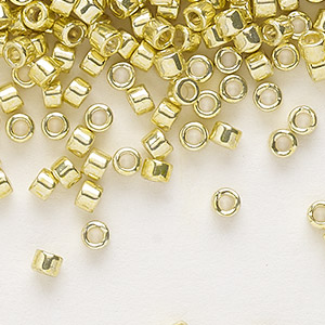seed bead, delica, glass, galvanized yellow, (db412), #11 round. sold per 7.5-gram pkg.