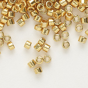 seed bead, delica, glass, galvanized yellow gold, (db410), #11 round. sold per 250-gram pkg.