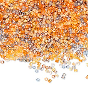 seed bead, delica, glass, mixed transparent luminous colors, (db2062), #11 round. sold per 250-gram pkg.