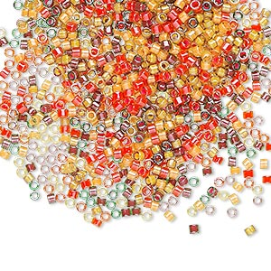 seed bead, delica, glass, mixed transparent luminous colors, (db2063), #11 round. sold per 250-gram pkg.