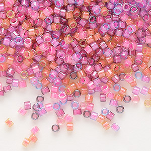 seed bead, delica, glass, mixed transparent luminous colors, (db2064), #11 round. sold per 50-gram pkg.