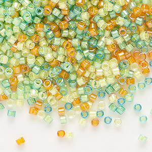 seed bead, delica, glass, mixed transparent luminous colors, (db2066), #11 round. sold per 50-gram pkg.