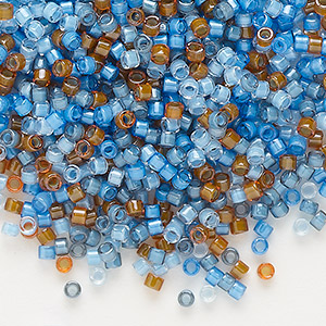 seed bead, delica, glass, mixed transparent luminous colors, (db2068), #11 round. sold per 7.5-gram pkg.