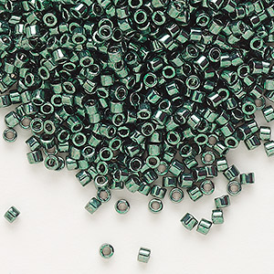 seed bead, delica, glass, nickel-finished dark green, (db458), #11 round. sold per 250-gram pkg.