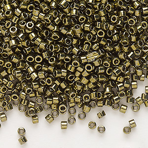 seed bead, delica, glass, nickel-finished olive, (db456), #11 round. sold per 7.5-gram pkg.