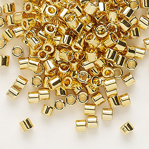 seed bead, delica, glass, opaque bright 24kt gold-finished, (dbl31), #8 round. sold per 250-gram pkg.