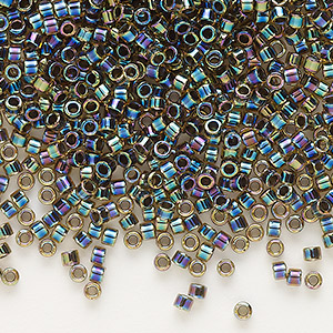 seed bead, delica, glass, opaque color-lined rainbow olive, (db89), #11 round. sold per 7.5-gram pkg.