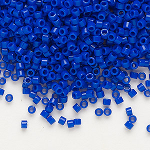 seed bead, delica, glass, opaque dark blue, (db726), #11 round. sold per 7.5-gram pkg.