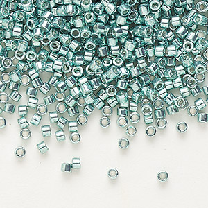 seed bead, delica, glass, opaque galvanized sea foam, (db416), #11 round. sold per 7.5-gram pkg.