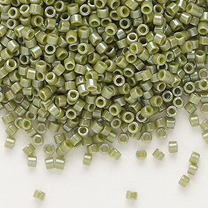 seed bead, delica, glass, opaque glazed luster olive green, (db0263), #11 round. sold per 7.5-gram pkg.