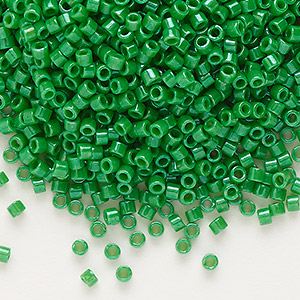 seed bead, delica, glass, opaque kelly green, (db655), #11 round. sold per 50-gram pkg.