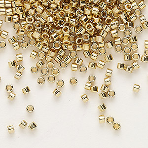 seed bead, delica, glass, opaque light 24kt gold-finished, (db34), #11 round. sold per 250-gram pkg.