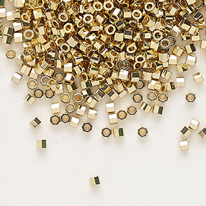seed bead, delica, glass, opaque light 24kt gold-finished, (dbc-0034), #11 cut. sold per 250-gram pkg.