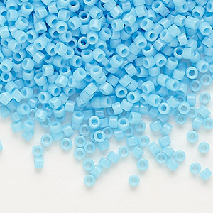 seed bead, delica, glass, opaque light blue, (db725), #11 round. sold per 50-gram pkg.