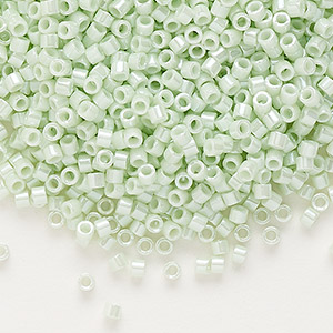 seed bead, delica, glass, opaque luster mint, (db1536), #11 round. sold per 7.5-gram pkg.