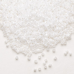 seed bead, delica, glass, opaque luster pearl, (db201), #11 round. sold per 7.5-gram pkg.