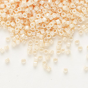 seed bead, delica, glass, opaque luster shell pink, (db1532), #11 round. sold per 7.5-gram pkg.