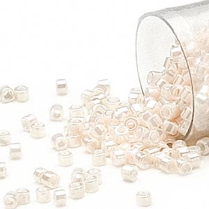 seed bead, delica, glass, opaque luster white, (db1530), #11 round. sold per 250-gram pkg.