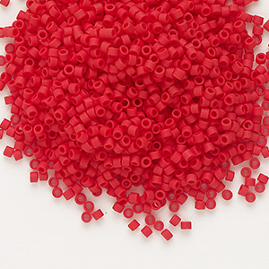 seed bead, delica, glass, opaque matte brick red, (db753), #11 round. sold per 7.5-gram pkg.