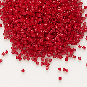 seed bead, delica, glass, opaque matte candy apple red, (db791), #11 round. sold per 7.5-gram pkg.