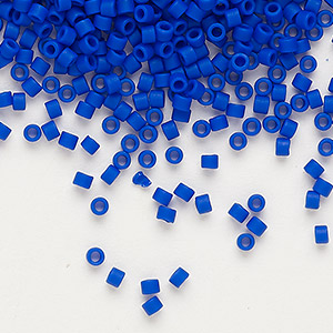 seed bead, delica, glass, opaque matte cobalt blue, (db756), #11 round. sold per 50-gram pkg.