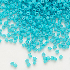 seed bead, delica, glass, opaque matte cyan turquoise blue, (db793), #11 round. sold per 7.5-gram pkg.