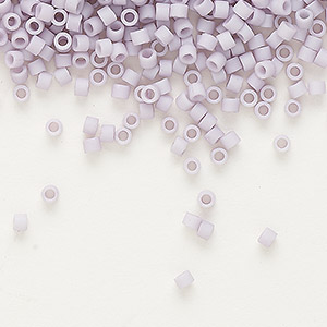 seed bead, delica, glass, opaque matte luster lavender, (db356), #11 round. sold per 50-gram pkg.