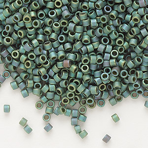 seed bead, delica, glass, opaque matte luster rainbow leaf green, (db373), #11 round. sold per 7.5-gram pkg.